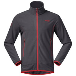 Lovund Fleece Jacket Solid Dark Grey / Fire Red