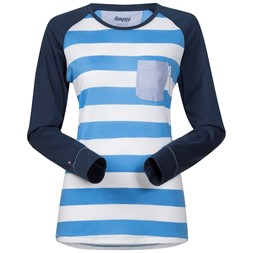 Torungen Lady Long Sleeve White / Summersky Striped / Dark Steel Blue