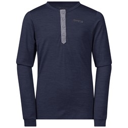 Myske Wool Youth Shirt Navy Melange / Solid Dark Grey